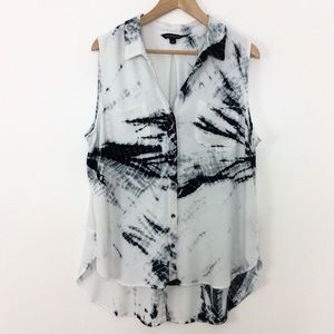 Rock & Republic Black&White Tie Dye Sleeveless Top